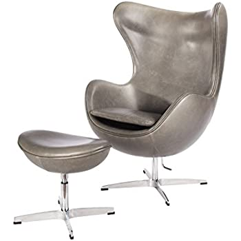 Milano Pewter Mid Century Modern Classic Arne Jacobsen Style Egg Replica  Lounge Chair With Premium Vintage
