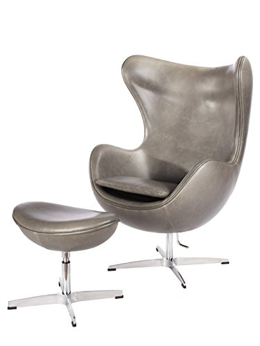 Milano Pewter Mid Century Modern Classic Arne Jacobsen Style Egg Replica Lounge Chair With Premium Vintage Gray PU Leather and Stainless Steel Frame With Matching Ottoman (1960 Style Outdoor Furniture)