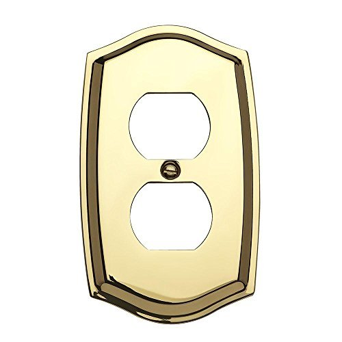 Colonial Lacquered Polished Brass - Baldwin 4757.030.CD Colonial Design Duplex Switch Plate, Polished Brass - Lacquered by Baldwin