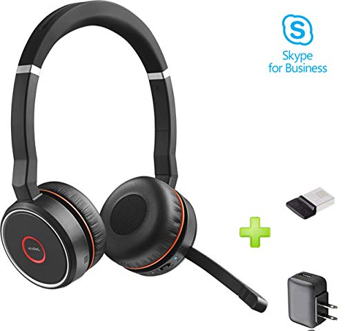 Jabra Evolve 75 Bluetooth Headset Bundle w/Bonus Wall Charger, USB Dongle 7599-832-109-B | PC/MAC Compatible with UC, Softphones, Smartphones, Tablet, PC | Microsoft Certified, Skype, Cisco, Avaya ()