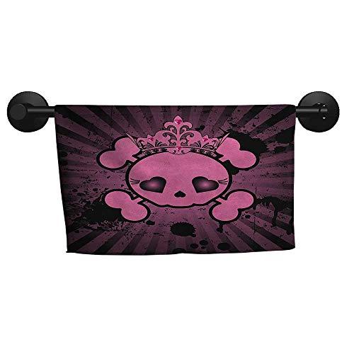 alisoso Skull,Towels Cute Skull Illustration with Crown Dark Grunge Style Teen Spooky Halloween Print Bath Towels for Kids W 10