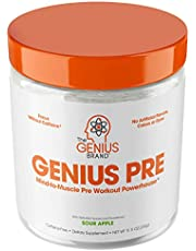 Genius Pre Workout Powder – All Natural Nootropic Preworkout & Caffeine Free Nitric Oxide Booster w/Beta Alanine & Alpha GPC   Boost Focus, Energy & NO   Muscle Builder Supplement –Sour Apple – 20SV