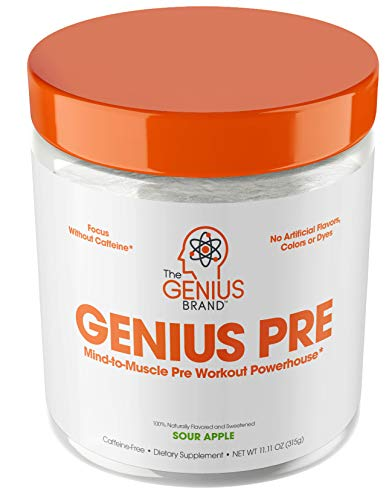 Genius Pre Workout Powder - All Natural Nootropic Preworkout & Caffeine Free Nitric Oxide Booster w/Beta Alanine & Alpha GPC | Boost Focus, Energy & NO | Muscle Builder Supplement -Sour Apple - 20SV
