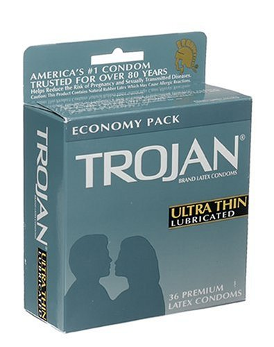 Trojan Ultra Thin Latex Condoms, Primium Lubricant, 36-Count Boxes (Pack of (Control Lubricated Latex Condoms)