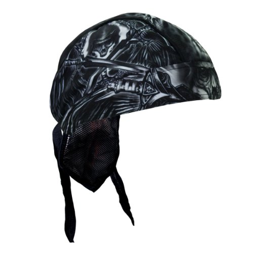Hot Leathers Authentic Bikers Premium Headwraps, DEATH WINGS - High Quality Micro-Fiber & Mesh Lining HEADWRAP (Hot Leathers Wrap)