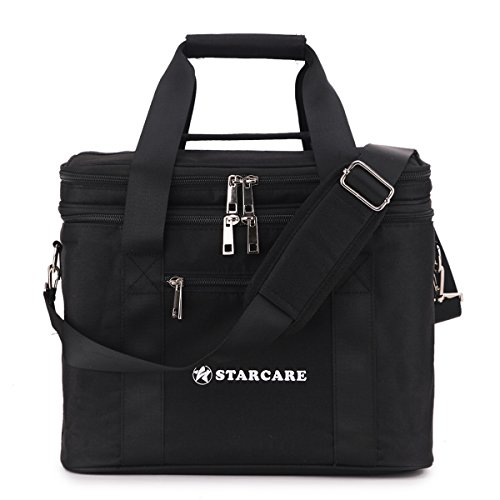 STARCARE Insulated Lunch Box Cooler Bag for Adults with Adjustable Shoulder Strap, Double Space, Oxford Fabric, Black