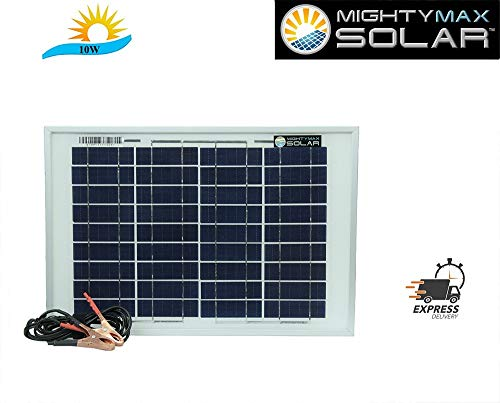 Mighty Max Battery 10 Watt Polycrystalline Solar Panel Charger for Gate Operator Brand Product