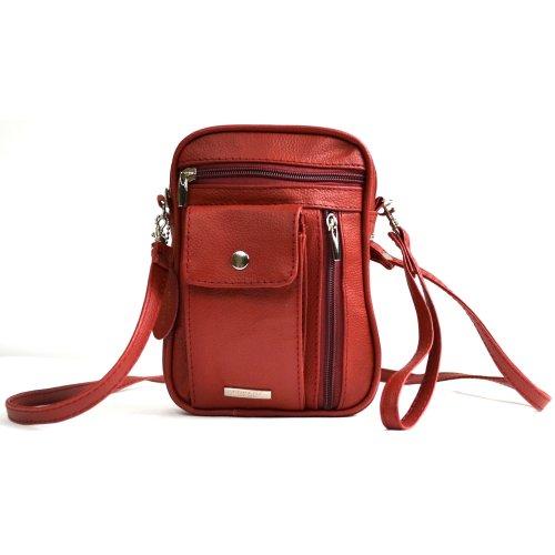 Unisex Umhängetasche aus echtem Leder-mit mehreren Taschen mit Reißverschluss und Gläser/Handytasche (Tan, Rot und Schwarz rot