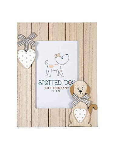 SPOTTED DOG GIFT COMPANY Cadre Photo Bois 15x10 cm Motif Chien avec Coeur pour Amoureux des Chiens et Animaux