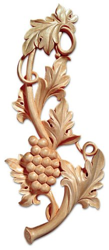 White River # CM2448, Grapevine Medallion - Left, 6 inch W x 1 inch D x 14-1/4 inch H, Maple