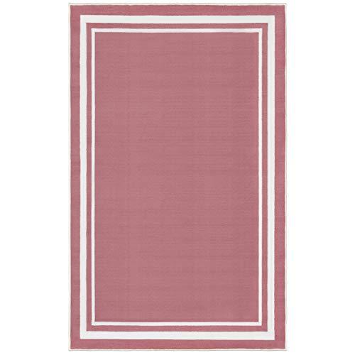 Evolur Home Nursery Rug/Bedroom/Livingroom/BabyPlaymat/ChildrensRug/PlayRug/KidsRug/Floormat70'x52' in Rose Pink with White Border