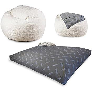 CordaRoyu0027s Convertible Fur Bean Bag Chair, White, Full