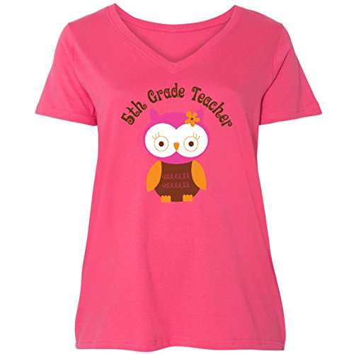 inktastic - 5th Grade Owl Ladies Curvy V-Neck Tee 4 (26/28) Pink 10353 (5th Grade Owl)