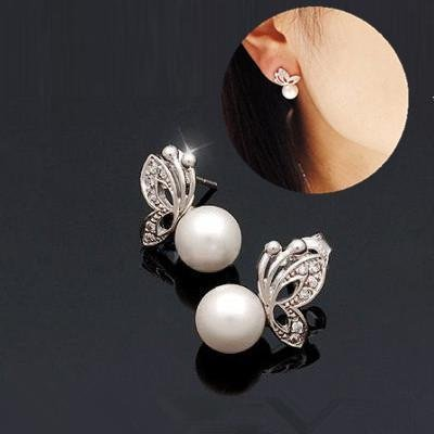 Shiny Alluring Pair of Earrings / Ear Studs With White Faux Pearls And Silver Colored Butterflies Decorations Encrusted With Rhinestones / Crystals / Gemstones By VAGA
