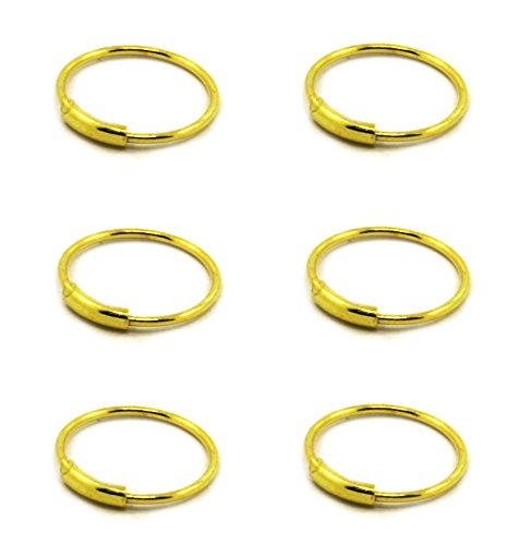 3//8 6 pcs of Gold Plated .925 Sterling Silver 20G Endless Nose Hoop 10mm