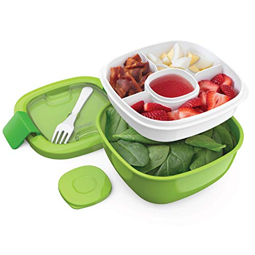 Bentgo Salad (Green) BPA-Free Lunch Container with Large 54-oz Salad Bowl, 3-Compartment Bento-Style Tray for Salad Toppings and Snacks, 3-oz Sauce Container for Dressings, and Built-In Reusable Fork ()