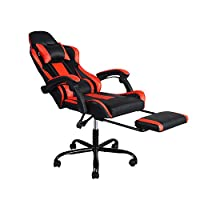 GreenForest Game Chair for Adults with Footrest, Computer Chair Lumbar Support, Ergonomic Office Chair High Back, Recliner Office Chair, Red