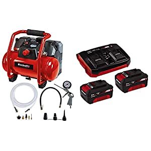 Einhell 4020450 Compresor con batería + 4512083 PXC-Starter-Kit, color rojo/negro