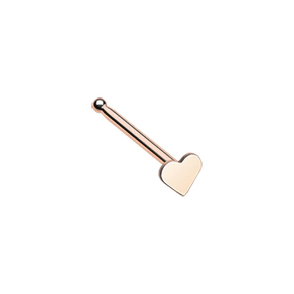 WildKlass Jewelry Rose Gold Heart Prong Set Gem Top L-Shaped Nose Ring