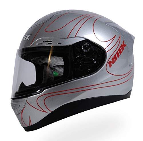 (Nitek P1 Glossy Silver Flame Graphic Full Face Motorcycle Street Helmet (Silver, 2X-Large))