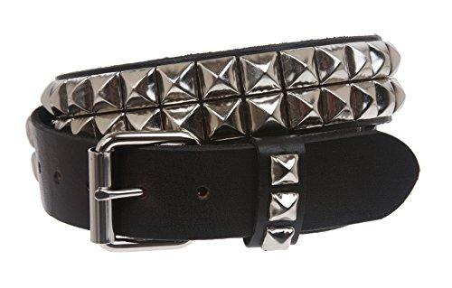 "Free 1 1/2"" Snap On Two Row Punk Rock Star Silver Studded Solid Leather Belt"