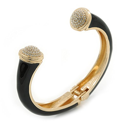 Avalaya Black Enamel, Crystal Hinged Cuff Bangle Bracelet in Gold Plated Metal - 19cm L