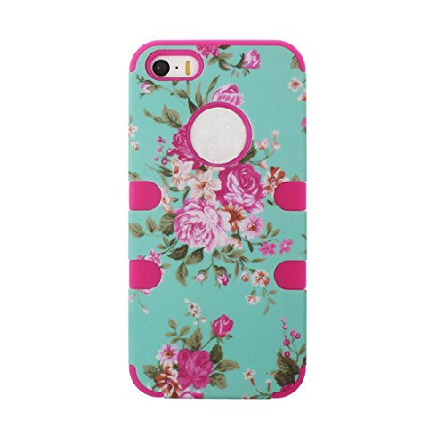 Meily® Orchid Pattern Combo Hybrid Silicone Case Cover For iPhone 5S 5G (Rose)