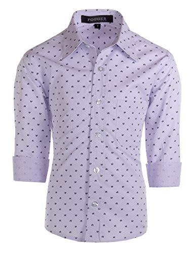 Fouger USA Boys Slim Fit Long Sleeve Dress Shirt - Gryffin Lavender