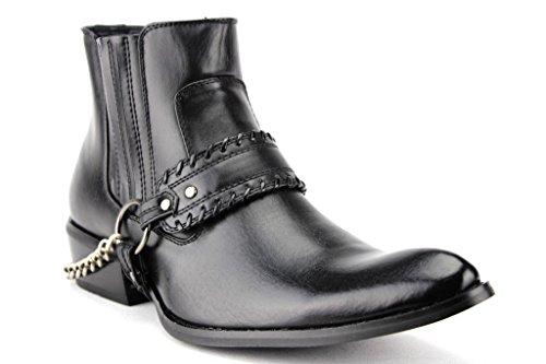 Menns Western-5 Cowboy Stil Belte Og Kjede Biker Motorsykkel Ridestøvler Svart