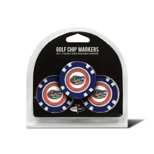 Team Golf NCAA Florida Gators Golf Chip Ball Markers (3 Count), Poker Chip Size with Pop Out Smaller Double-Sided Enamel - Golf Golf Balls Team