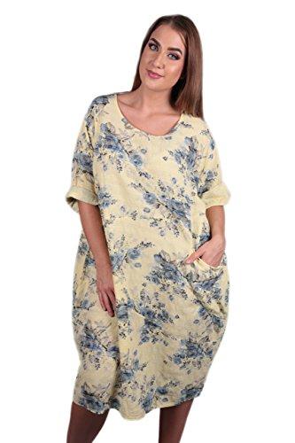 Made in Italy Damen Kleid Maxikleid in gelb mit Blumendruck in Einheitsgröße Übergröße