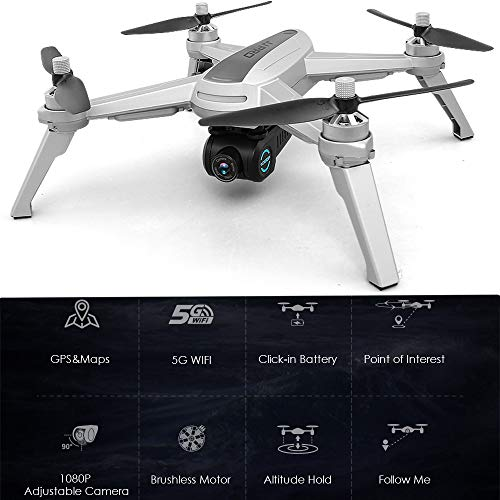 jkbfyt Remote Control Aircraft Drone,JJPRO X5 GPS Smart Return Drone 5G WiFi System Quadcopter, Remote Control Aircraft Drone with 1080P Camera Live Vedio, Brushless Motor and Follow Me Mode
