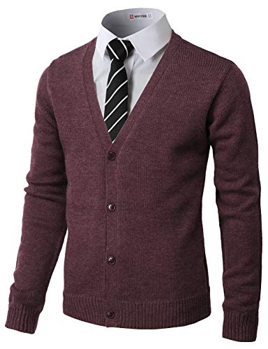 H2H Mens Fashion Basic Button Front Marble Color Cardigan Wine US S/Asia M (CMOCAL017)