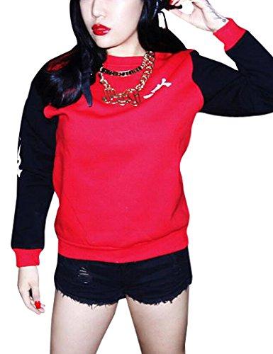 Letras contraste color moda-sudaderas de las mujeres Red L