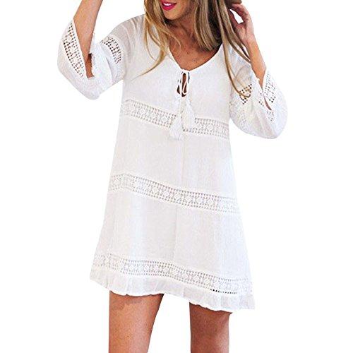 (Rambling Sexy Sundress Ruffle Skirt, Women Summer Elegant Three Quarter Sleeve Loose Lace Boho Beach Short Mini Dress White)