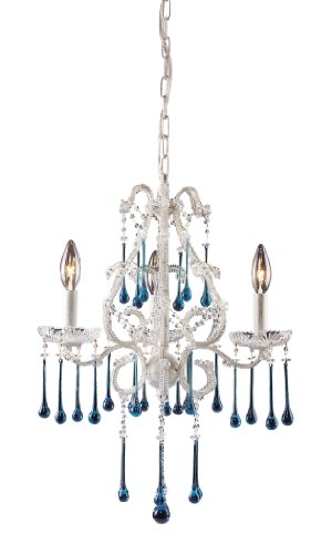 Elk 4001/3AQ 3-Light Chandelier in Antique White and Aqua Crystal