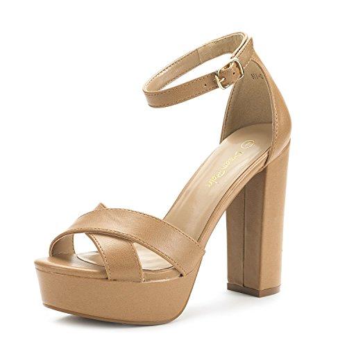 DREAM PAIRS Women's Hi-Go Nude Pu High Heel Platform Pump Sandals - 7 M US ()