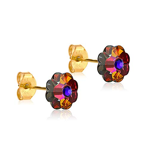 24K Gold Coated Stud Earrings hypoallergenic by clecceli (Volcano)