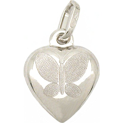 14k White Gold Butterfly Heart Charm Jewelry 12.5mm