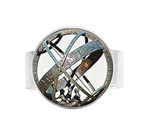 Astronomical Sundial Globe Ring, Glass Dome Ring Vintage Astronomy Science Jewelry