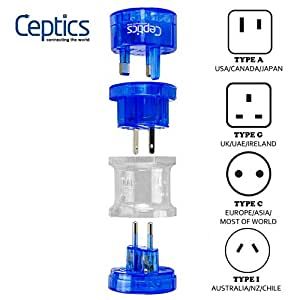 Ceptics Travel Adapter Plug Compact Worldwide International Kit - Works in Europe, Asia, China, England, Italy, New Zealand, Australia and More
