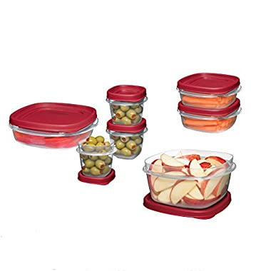 Rubbermaid Easy Find Lids Food Storage Container, BPA-Free Plastic, 18-Piece Set, Red (1777170)