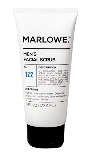 MARLOWE. No. 122 Men's Facial Scrub 6 oz | Best Daily Exfoliating Face Wash | Fresh Sandalwood Scent | Made with Natural Ingredients