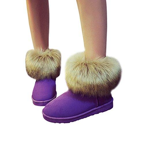 Casual Señoras Botas Invierno Mujer Zapato Morado Fluffy Tobillo Fuyingda sintética Plano Cómodo Nieve Cálido Piel pqBdx8wPF