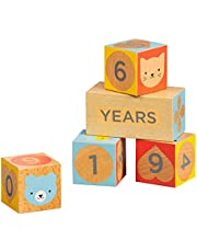 Petit Collage Baby Milestone Blocks Photo Props for Months, Weeks, Years – Numbered Wooden Blocks, Baby Props for to Capture Baby's Growth Over Time