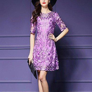 PU&PU Robe Aux femmes Gaine Simple / Street Chic,Jacquard Col Arrondi Au dessus du genou Polyester , purple , 2xl