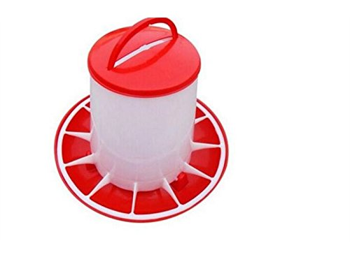 Yunqir Suitable 3000G Large Capacity Chick Drinking Drinker Drinking Fountain Economy Dispenser Feeder Food Barrel-Red+White by Yunqir