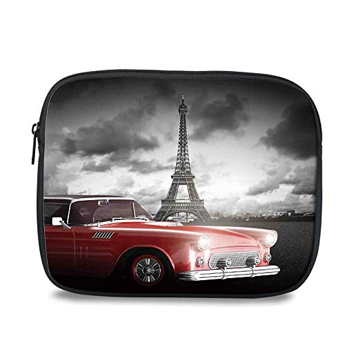 Paris Decor Durable iPad Bag,Fancy Vintage Car with Tour Eiffel in Cold Cloudy Day Romantic Theme Retro Style Art Photo for iPad,10.6