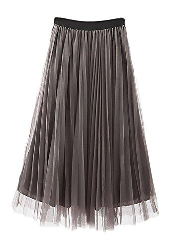 Moda Alta Línea Elegantes Tul Cintura Gris Faldas Plisada Petticoat Verano Mujer Falda Enagua Vintage Casuales Largas Mujeres Elástica Una Fiesta Battercake Tnv1a6x