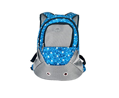 Giveme5 Pet Carrier Back Front Pack Dog Cat Travel Bag Pet Mesh Backpack Head out Design Padded Adjustable Shoulder Strap (Blue Star)
